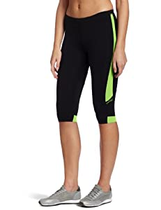 Saucony Ignite Tight Capri, Black/Nimble Green, X-Small