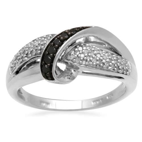 Sterling Silver Black and White Diamond Cross Over Ring (1/4 cttw, I-J Color, I3 Clarity), Size 6
