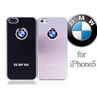 iPhone5 ケース 【BMW】 アルミヘアライン BMWロゴ メタルバック ハードケース ブラック