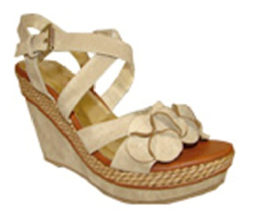 Cheap Bucco 17-480 Platform Wedge Sandals Beige (B004X17FCI)