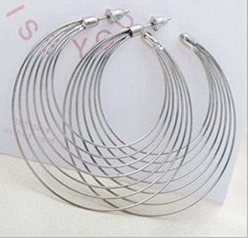 kathyt store INC 1 Pairs Gold/silver Color Fashion Wild Big Circle Earrings Bamboo 2.3 Inch Hoop Earrings (Silver) - 1