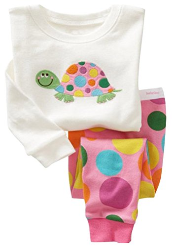 "Cinqueint Baby Girl ""Colorful Turtle"" 2 Pcs Pajamas Set Sleepwear Outfit (12M-7Y)"
