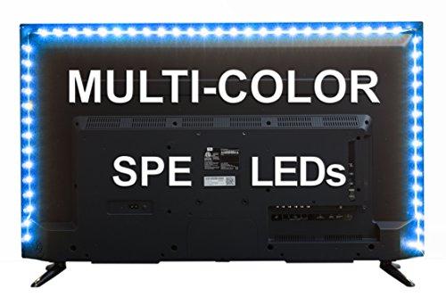 SPE Bias Lighting for HDTV (78-inch, 60 LED, RGB) - USB LED Backlight Strip with Dimmer for Flat Screen TV LCD, Desktop Monitors (Multi-Color)