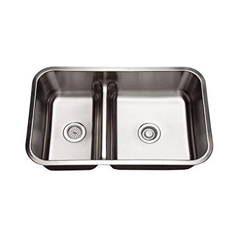 "Mirabelle MIRURB3421 34"" Double Basin Stainless Steel Kitchen Sink with 70/30 Sp, Stainless Steel"