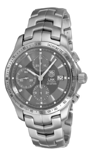 Buy cheap tag heuer men s cjf2115 ba0594 link automatic chronograph grey dial watch online for Tag heuer discount