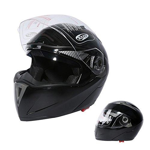 TCMT Dot Adult Motocross Offroad Street Helmet Gloss Black Dual Visor Sun Motorcycle Helmet Flip Up Modular Full Face Black Helmet S