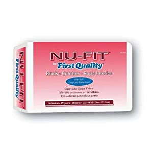 Nu Fit Adult Diapers, Medium 32 - 44 Latex Free, 96 Case by First Quality Products Inc.