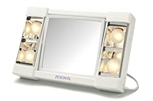 Jerdon J1010 6-inch Portable Tabletop Two-sided Swivel Lighted Makeup Mirror With 3x Magnification