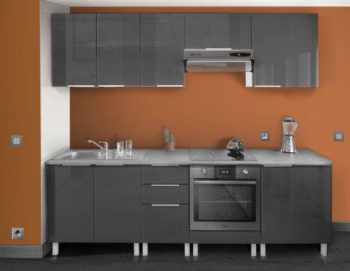 Berlenus cf6bg meuble bas de cuisine avec four gris haute for Cuisine aubergine et grise