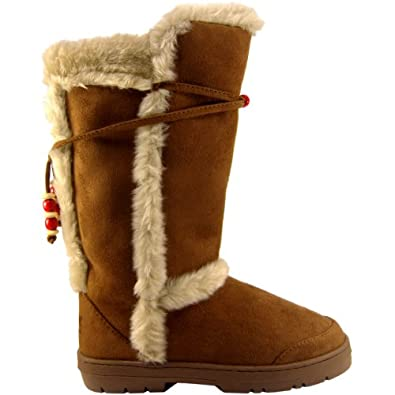 Simple  BREEZE Women39s Lace Up Faux Fur Collar Tongue Flat Winter Boots  EBay