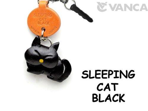 Black Sleeping Cat Leather Cat Earphone Jack Accessory / Dust Plug / Ear Cap / Ear Jack *Vanca* Made In Japan #47409
