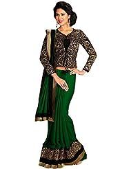 Sylelok Green Georgette Saree With Blouse Piece SL 7500810