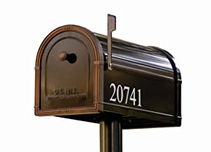 Architectural Mailboxes 5581B-10 Avalon Post Mount Mailbox, Black with Venetian Bronze Accents