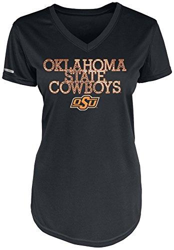 NCAA Oklahoma State Cowboys P004726-CH007 Short Sleeve Vee Neck Tee, Small, Black