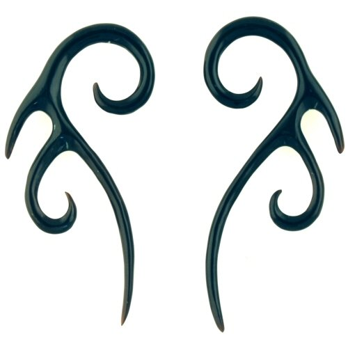 Pair of Black Horn Double Tail Hooks: 9/16