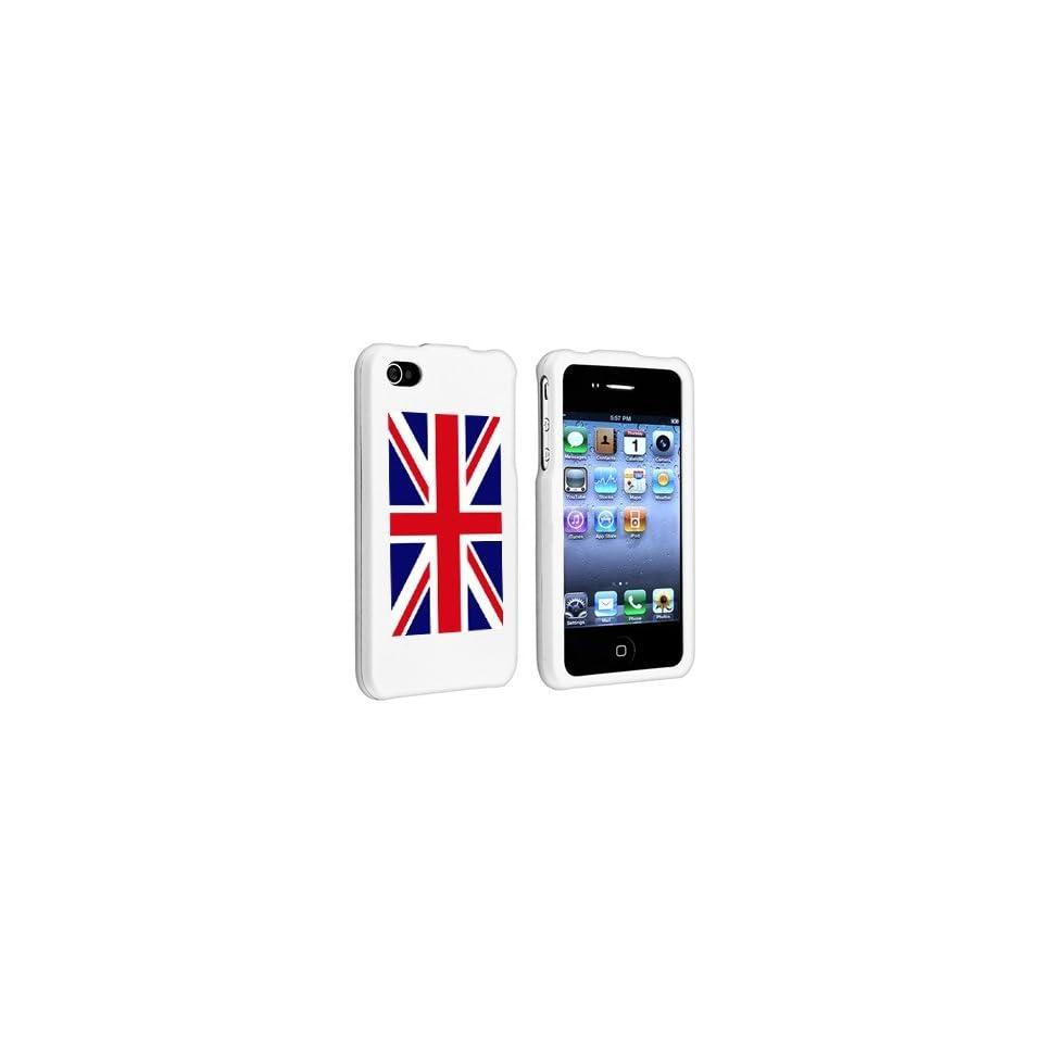 Apple iPhone 4 4S White Rubber Hard Case Snap on 2 piece United Kingdom British Flag
