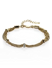 M&S Collection Gold Plated Sparkle & Stopper Chain Bracelet
