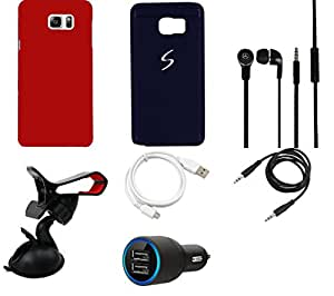 NIROSHA Cover Case Car Charger Headphone USB Cable Mobile Holder car for Samsung Galaxy Note 5 - Combo