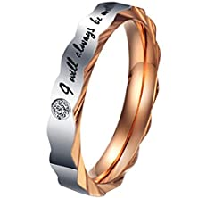 "buy Women - Size 7 - Men'S Women'S Stainless Steel Love ""I Will Always Be With You"" Cz Couples Promise Ring Wedding Bands"