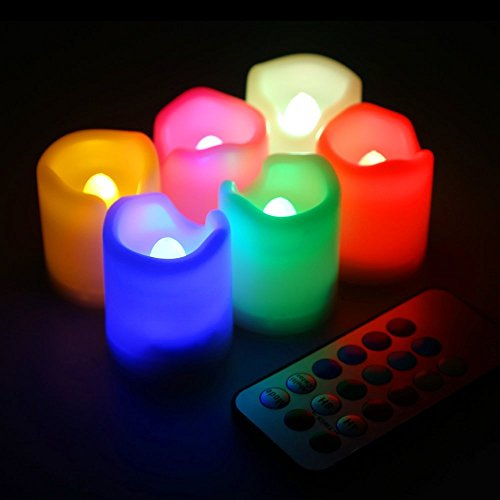 Kohree Set Of 6 Flameless Led Votive Ivory Candles With Remote Control & Timer, Battery-Included, Wavy Edge, Multiple Colors