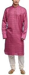 Libas Designs Men's Raw Silk Kurta (LIBKUR006, Purple, 42)