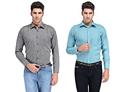 Ausy Solid Cotton Blend Men's Shirt ( Pack of 2 )