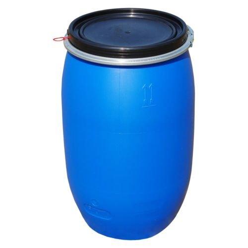 Barile polietilene 120 L apertura totale con coperchio, qualità alimentare, blu (22120)