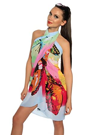 Silamoda - Femme - Paréo sexy multicolors effet mousseline de soie - Unique - Multi Colors