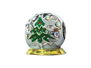 Zable(tm) Sterling Silver Christmas Tree Snow Globe Bead / Charm