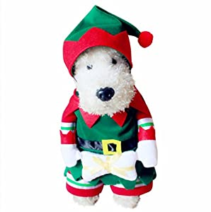 PetBoBo Dog Cat Pet Christmas Elf Costumes Suit Hoodies Coat Winter Clothing Apparel Puppy Outwear Costume S
