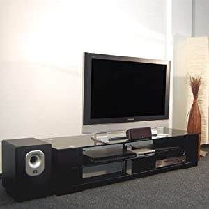 tv unterschrank glas tv board lowboard phonom bel amazon. Black Bedroom Furniture Sets. Home Design Ideas