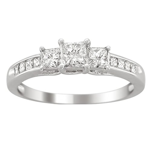 0.58 Carat Three Stone Diamond Engagement Ring with Princess cut Diamond on 14K White gold