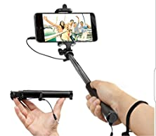 buy Best Valentine'S Gift! Stylish Compact Foldable Wired Selfie Sticks For Iphone And Andriod, Best Quality, Black And Gold, Integraded Smart Mini Monopod Shooting Aid