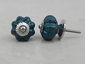 Set of 2 Medium Melon Dark Green Drawer Pull Cabinet Door Knobs Dresser Drawer Handle Kitchen Room Almirah Wardrobe Online India available at Amazon for Rs.129