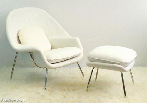 Eero Saarinen Womb Chair & Ottman - In White. Ships In 24 Hours With Money Back Guarantee!