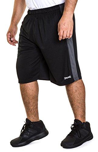 Spalding Mens Active Interlock Basketball Gym Athletic Workout Shorts with Contrast Side Panel Black/Asphalt