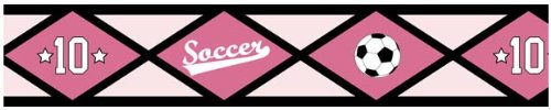 Girls Soccer Baby, Kids And Teens Wall Paper Border By Sweet Jojo Designs front-229065