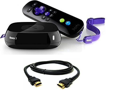 Roku 3 Streaming Media Player (4230r) with Voice Search (2015 Model) with a 3 Foot Hdmi Cable