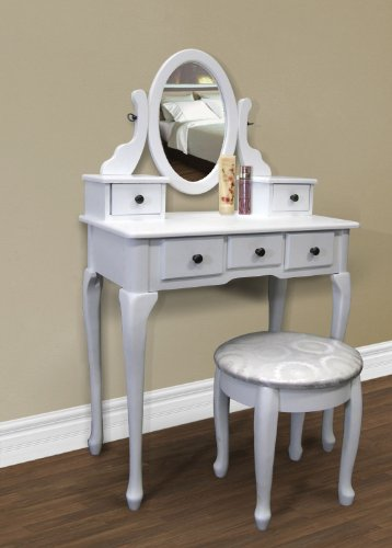 New White Vanity Table Set Jewelry Armoire Makeup Desk Bench Drawer