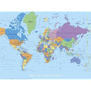 World Map Art Poster Print, 24x18