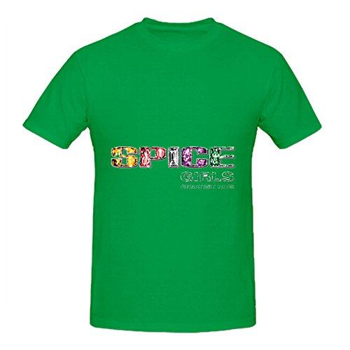 [Spice Girls Greatest Hits Soul Album Cover Men Crew Neck Graphic Shirt Green] (Sweeney Todd Halloween)