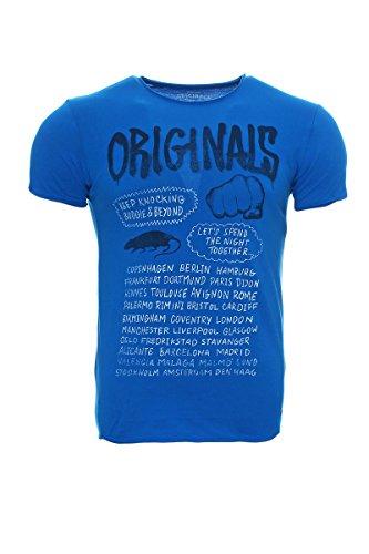 JACK & JONES -  T-shirt - Collo a U  - Maniche corte  - Uomo Blu (Imperial Blue) XX-Large (taglia del produttore: XXL)