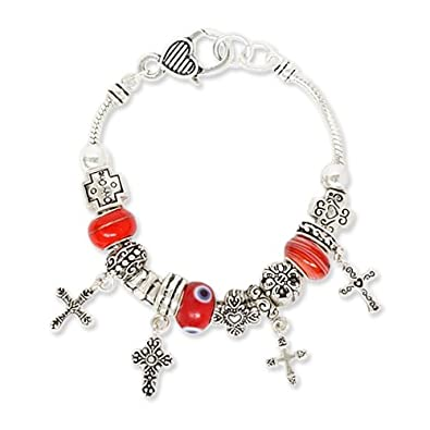 Cross Theme Red Beads Designer Style Charm Bracelet Fashion Jewelry