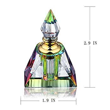 H&D Vintage Egyptian Perfume bottle Decor Refillable Mini Empty Potions Glass 3ML (Rectangular pyramid)