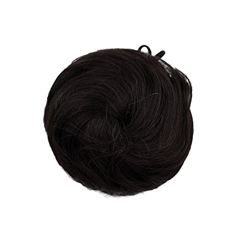 SWACC Girls Updo Donut Hair Bun Synthetic Clip On Chignon Hairpiece Drawstring Ponytail Bun Hair Extensions (1B-Off Black) (Clip On Hair Bun compare prices)