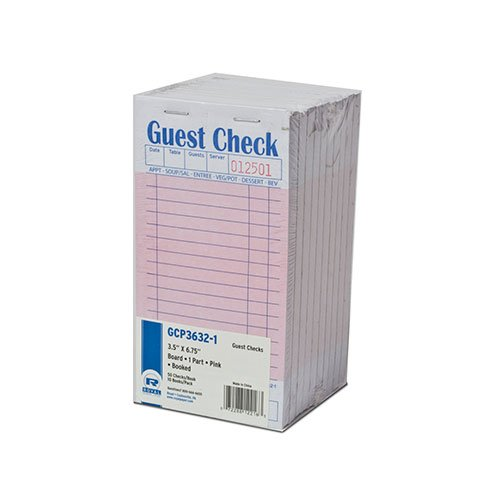 Royal Pink Guest Check Board, 1 Part Booked with 15 Lines, Package of 10 Books (Restaurant Check Pad compare prices)