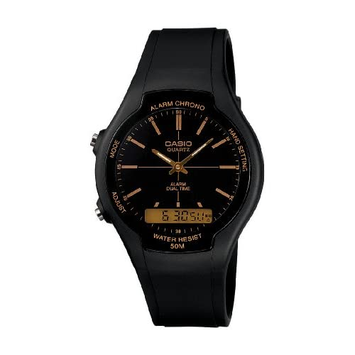 Casio AW-90H-9EVEF Men's Quartz Watch with Black Dial Analogue - Digital Display and Black Resin Strap