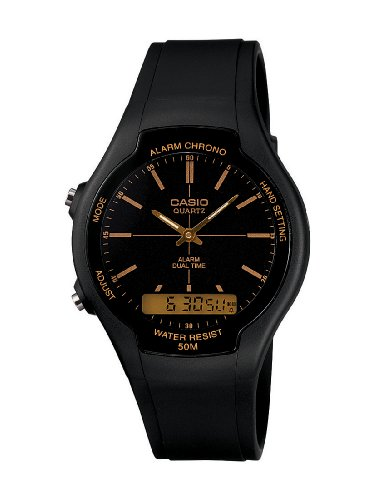 Casio AW-90H-9EVEF Unisex Watch Quartz Analogue Black Dial Black Resin Strap