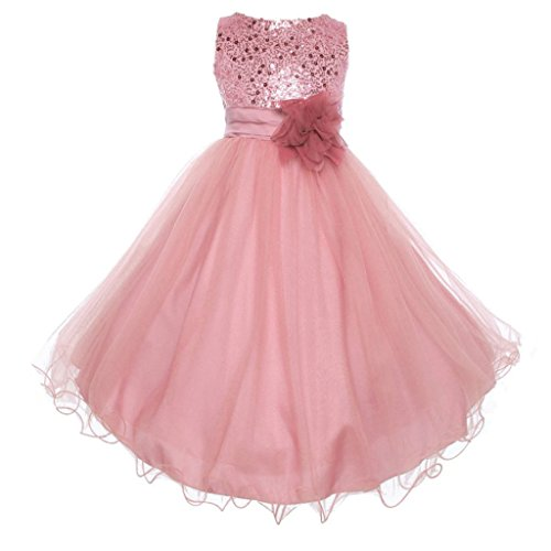 6901f17d66 ZAH Sequin Mesh Flower Party Wedding Gown Bridesmaid Tulle Dress Little Girl (Pink