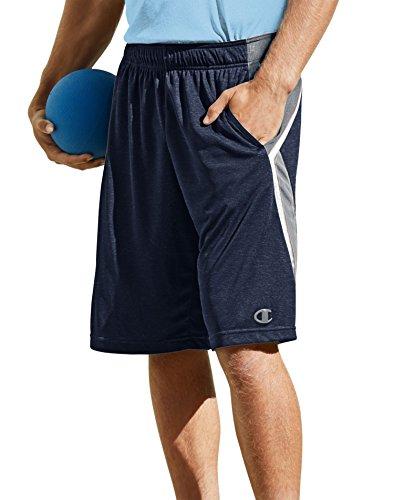 Champion Men's Fast Break Basketball Short, Navy Heather/Concrete/White, X-Large